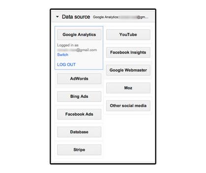 """Data source"" pour choisir le type d'API Google Analytics"