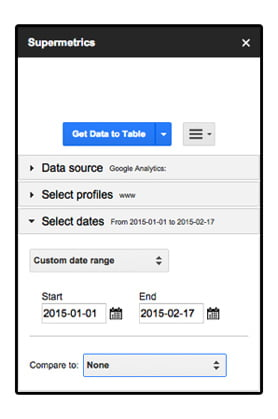 "Personnaliser la date d'analyse dans ""Select dates"" de Supermetrics"