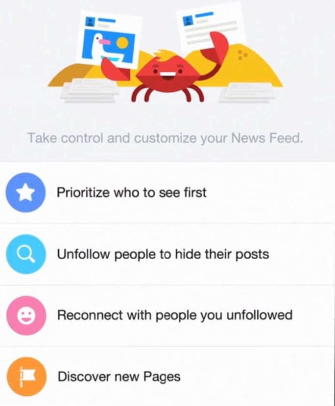 Options pour personnaliser son fil d'actualités Facebook