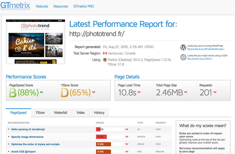 Test GTmetrix sur la PageSpeed