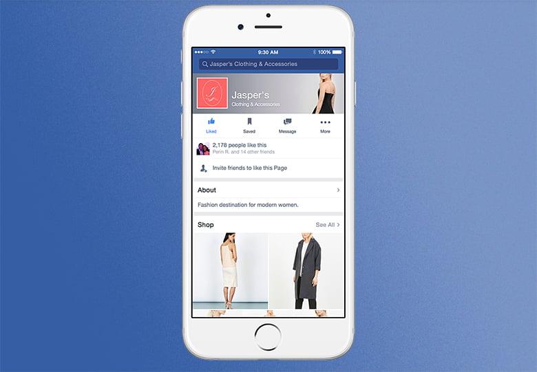 Maquette des nouvelles pages shopping Facebook sur mobile