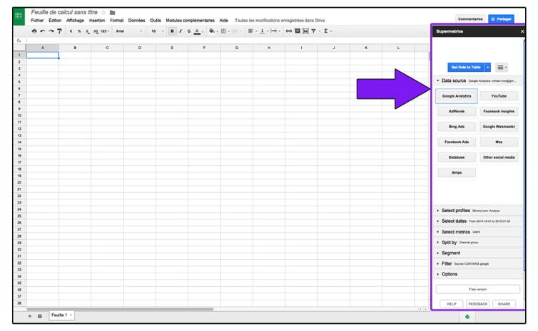 Sidebar du module Supermetrics installée dans Google Spreadsheets