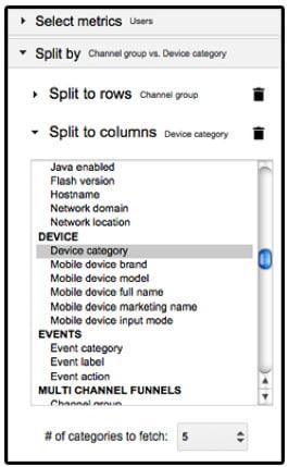 """Sélectionner """"Split to columns"""" pour avoir le nombre de visiteurs réparti par devices"""