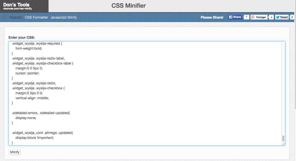 Clean CSS pour compresser les fichiers CSS