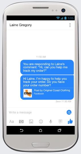 Facebook Messeger, conversation privée entre un fan et une entreprise