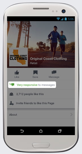Page Facebook avec un bon taux de réponses aux messages privés