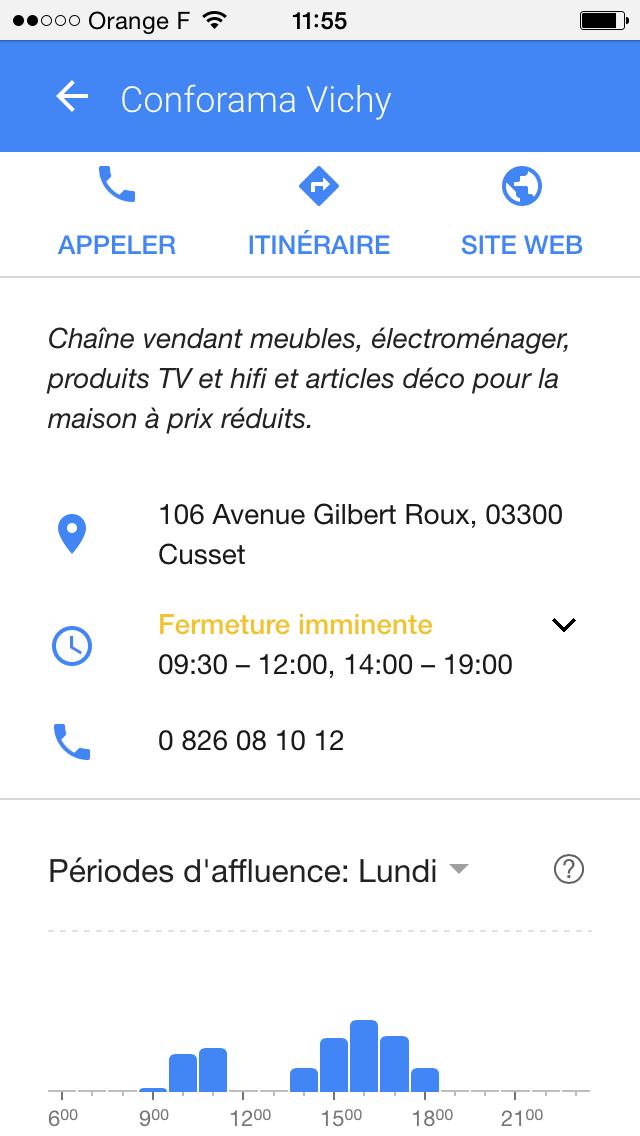 Périodes d'affluence Google affichées lors d'une recherche d'un lieu