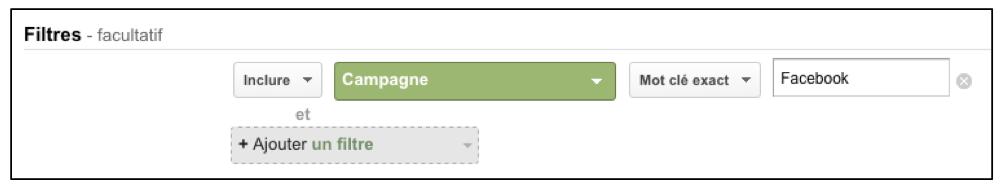 Mot clé exact à ajouter dans les filtres Google Analytics