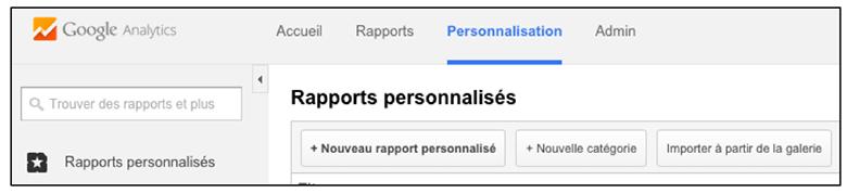Personnalisation des rapports dans Google Analytics