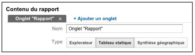 Google Analytics : option tableau statique dans les rapports