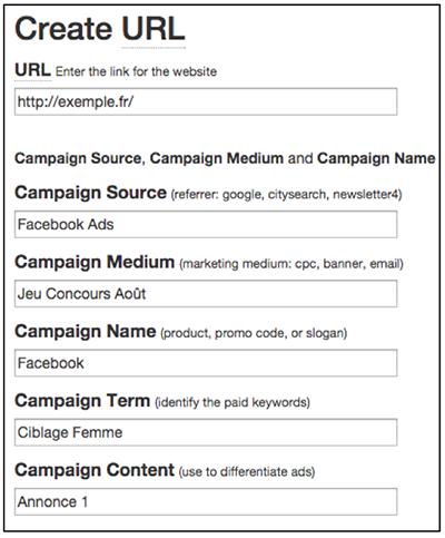 URLs optimisées avec URL Builder Google Analytics