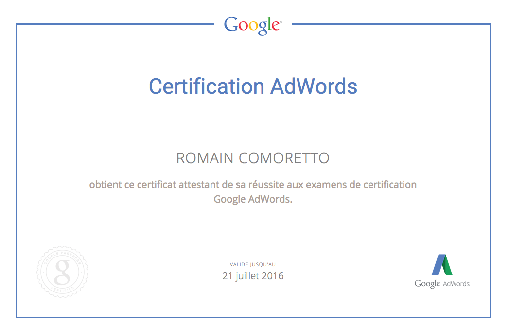 Certification Google Display