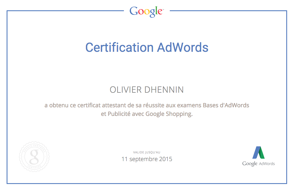 Certification Google Shopping obtenue
