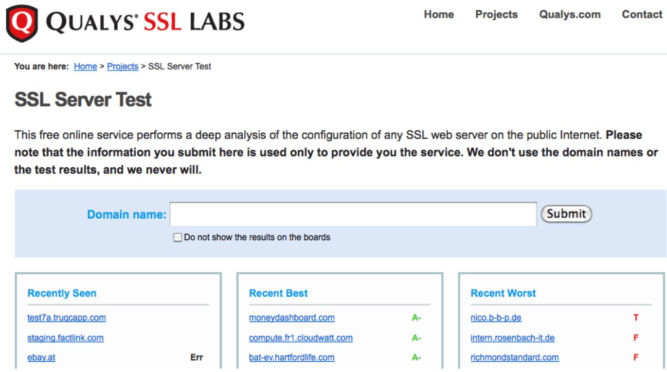 Vérifier la sécurité du serveur avec l'outil en ligne SSL Server Test