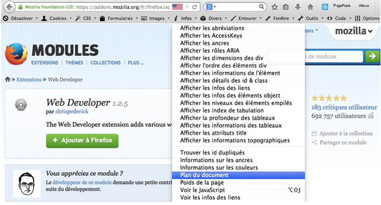 Installation du module Web Developer sur Firefox