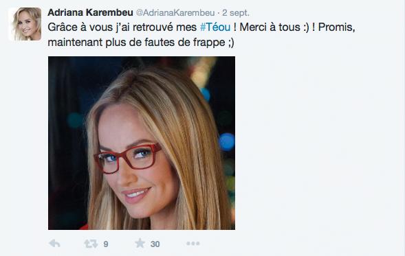 Campagne publicitaire d'Atol sur Twitter avec Adriana Karembeu