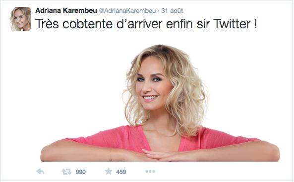 Adriana Karembeu fait son entrée sur Twitter