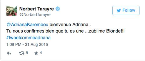 Opération marketing d'Atol avec le tweet raté d'Adriana Karembeu