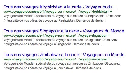 Référencement naturel du site Voyageurs du Monde