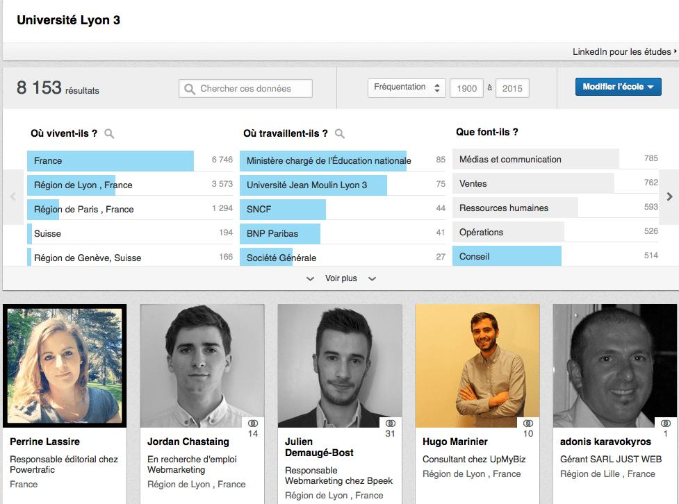 """Recherche """"alumni"""" sur Linkedin"""