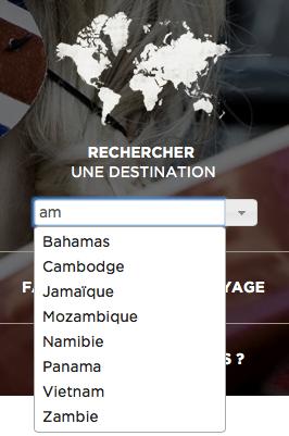 Menu de navigation sur le site web Voyageurs du Monde