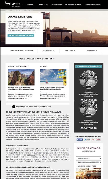 Descriptif de la page pays pour le voyage aux Etats-Unis