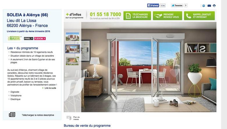 Page du programme immobilier neuf de Bouygues Immobilier