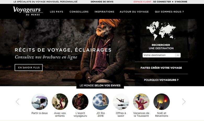 """Site web de l'agence de voyage """"Voyageurs du Monde"""""""