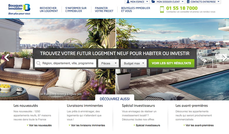 Interface du site Bouygues Immobilier