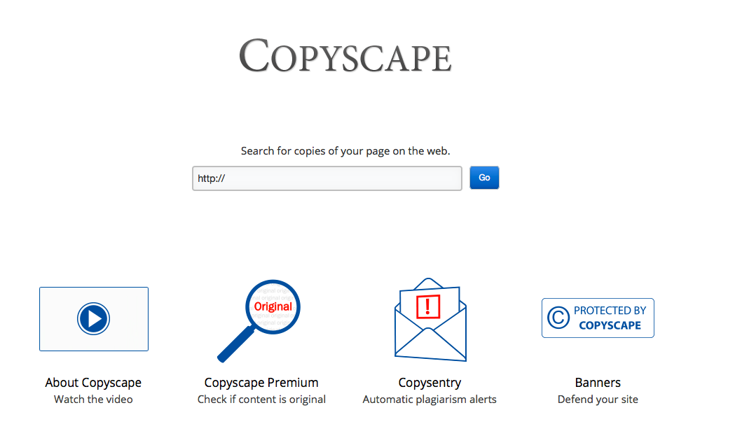Détection de duplicate content externe avec l'outil en ligne Copyscape