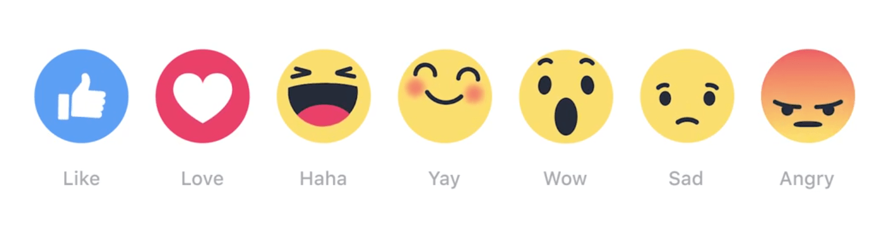 """Nouveaux boutons """"réactions"""" sur Facebook"""