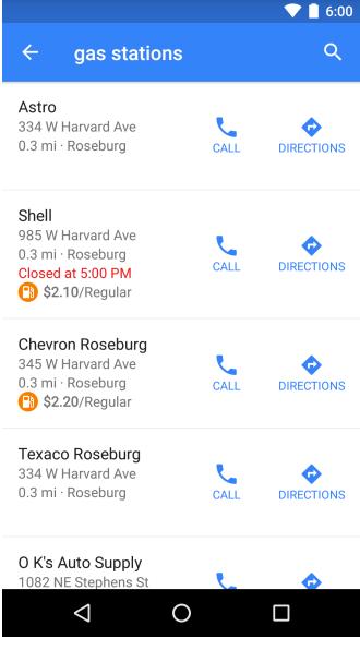 Google Maps affiche le prix de l'essence