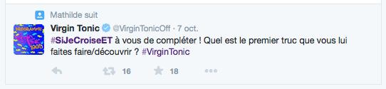 Le hashtag original lancé par Virgin Tonic