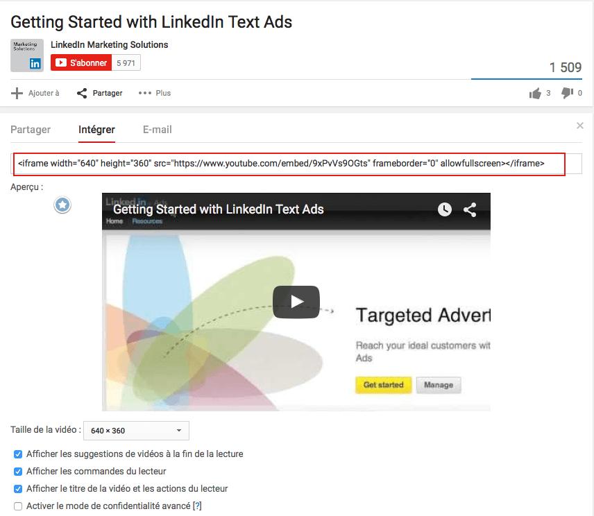 Intégrer une vidéo Youtube sur un site web