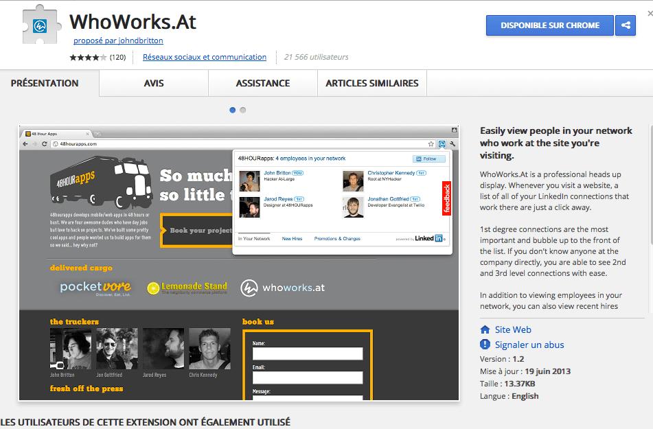 Extension Google Chrome pour recruter de nouveaux clients