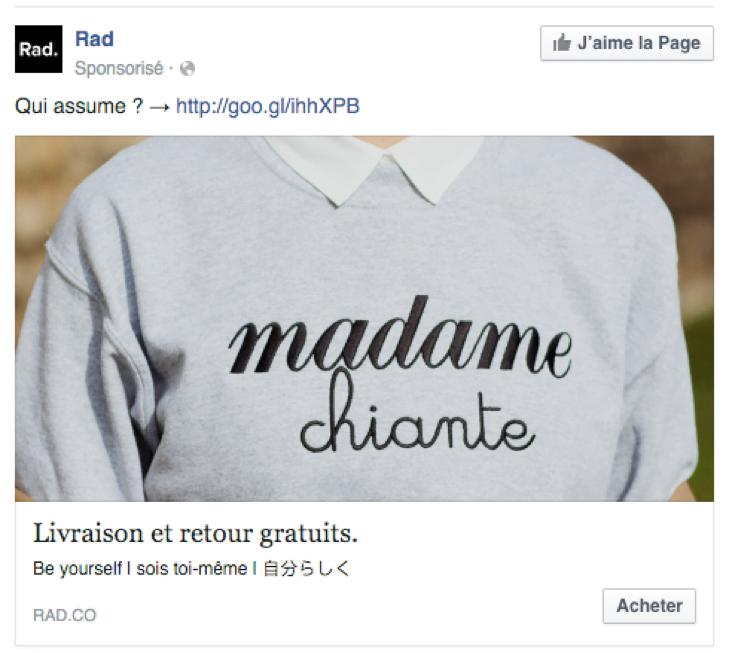 Les textes des annonces Facebook ads.