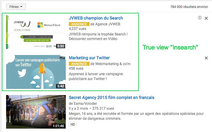 Publicité vidéo TrueView sur Youtube