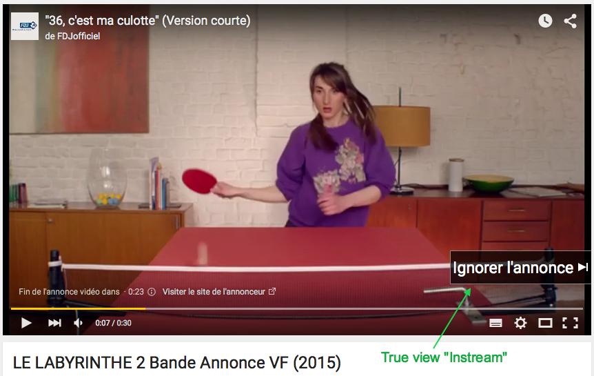 Format TrueView d' une annonce publicitaire sur Youtube