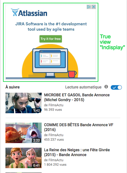 Vidéo publicitaire TrueView sur Youtube