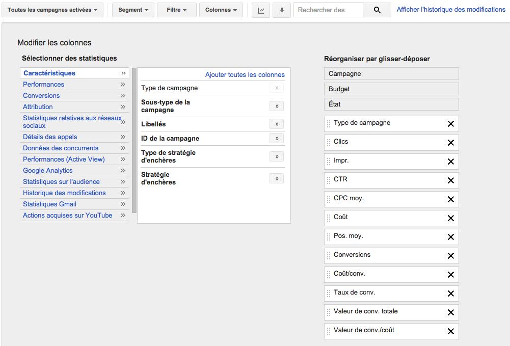 Personnaliser le compte AdWords