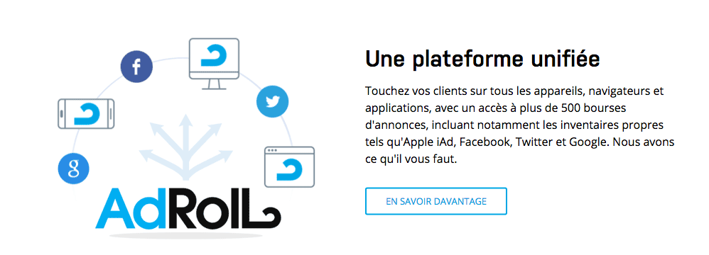 Plateforme de remarketing Adroll.