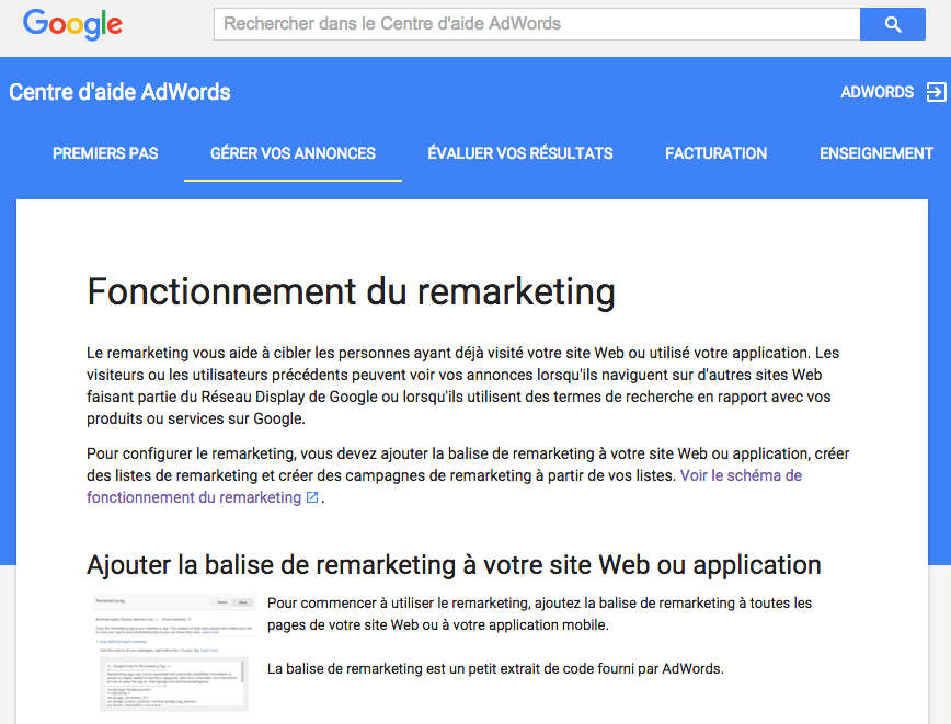 Remarketing Adwords : technique de webmarketing.