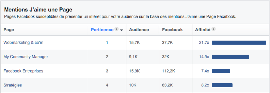 Suivi des audiences Facebook Ads.
