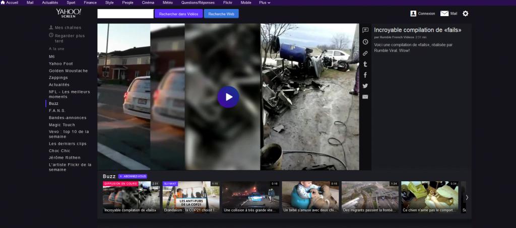 Moteur de recherche vidéos : Yahoo Screen