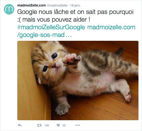 Bug de Google sur le site Madmoizelle