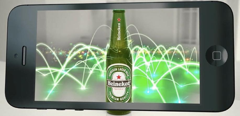 Exemple de réalité augmentée avec les bières à scanner de Heineken