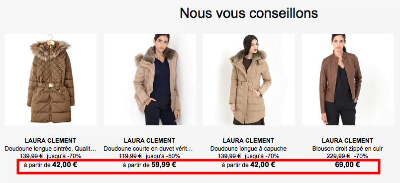 Exemple de up-selling sur un site e-commerce