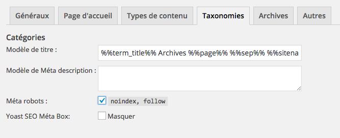 Gérer l'indexation des différents modèles de pages sous WordPress.