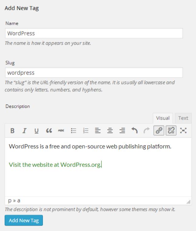 Modifier les pages tags sur WordPress.