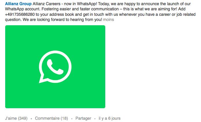 Utilisation de Whatsapp par le groupe Allianz